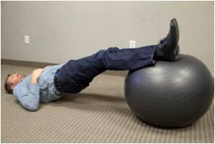 hamstring ball curl knee exercises
