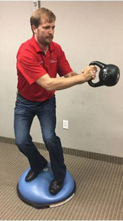 rotational movements on bosu or vibration